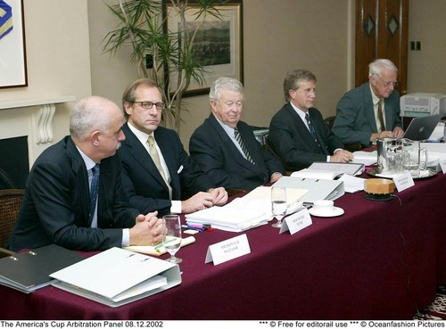 The Arbitration Panel meets in the 2002 Louis Vuitton Cup.  © Event Media